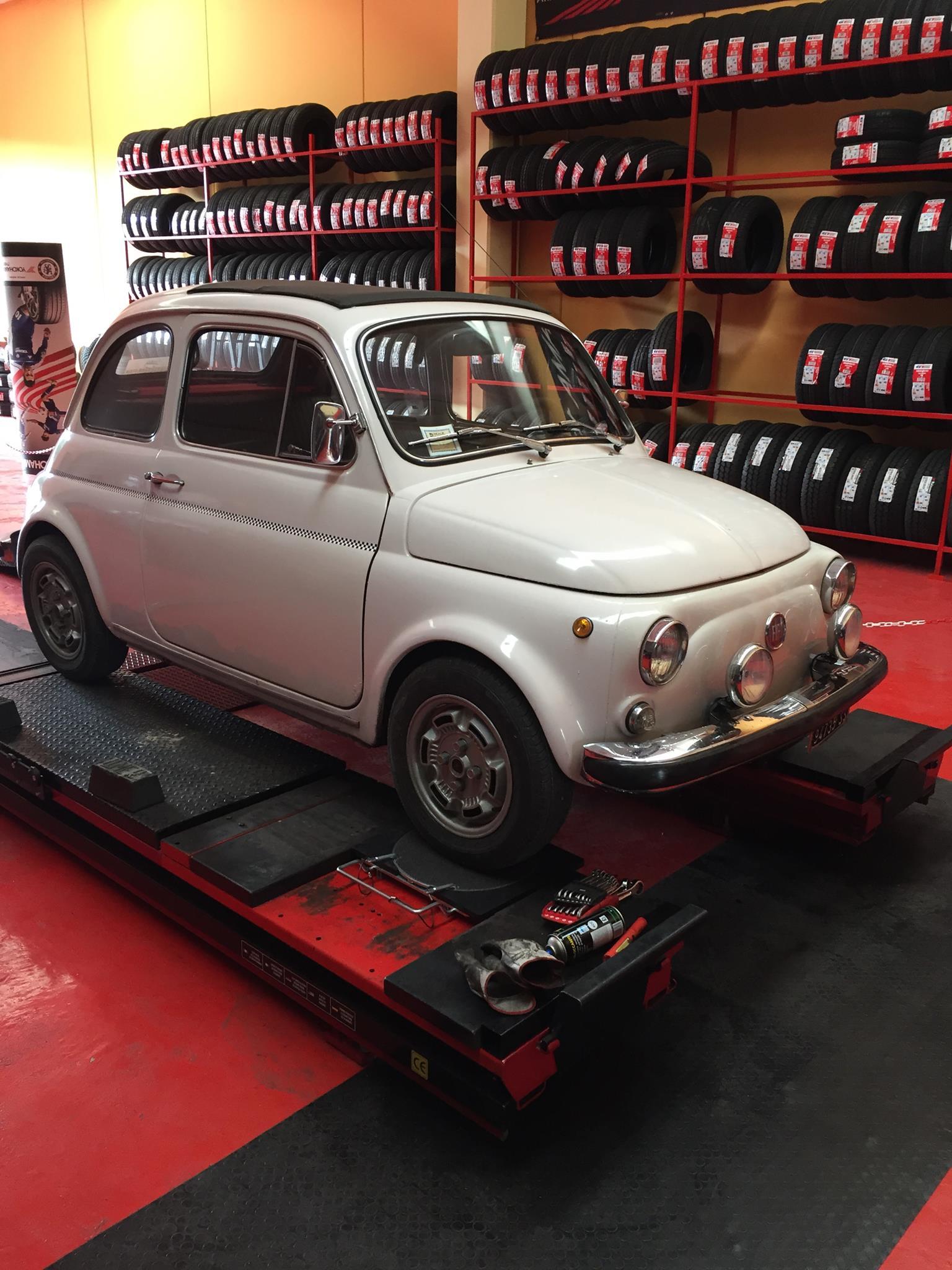 Mitica Fiat 500 da gommista sassari